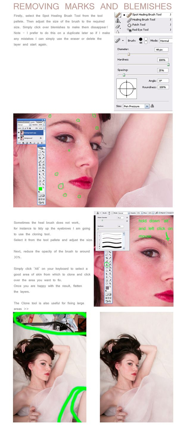 Use the Spot Healing Brush to remove blemishes.   21 Incredibly Simple Photoshop Hacks Everyone Should Know