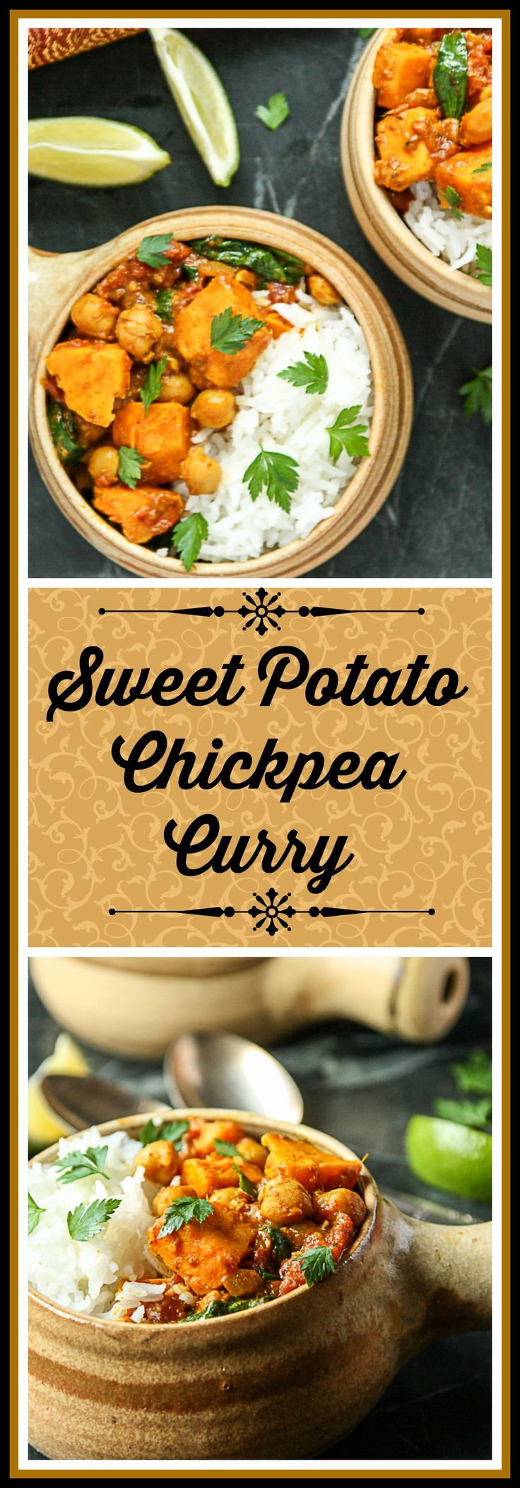 Vegetarian Chickpea Curry with Sweet Potatoes, simmered in coconut and flavored with Garam Masala. A delicious and easy one pot dinner.