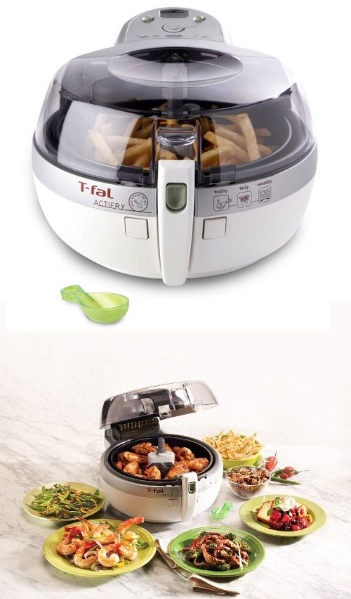 Actifry low-fat multi-cooker pot. Cook perfect French fries with just one tablespoon of oil in 30 minutes. Great for other stir-fry recipes. Has internal paddle that constantly stirs the food and pulsating heat system which cooks evenly. #healthy #cooking #recipes #slow #cooker #crockpot