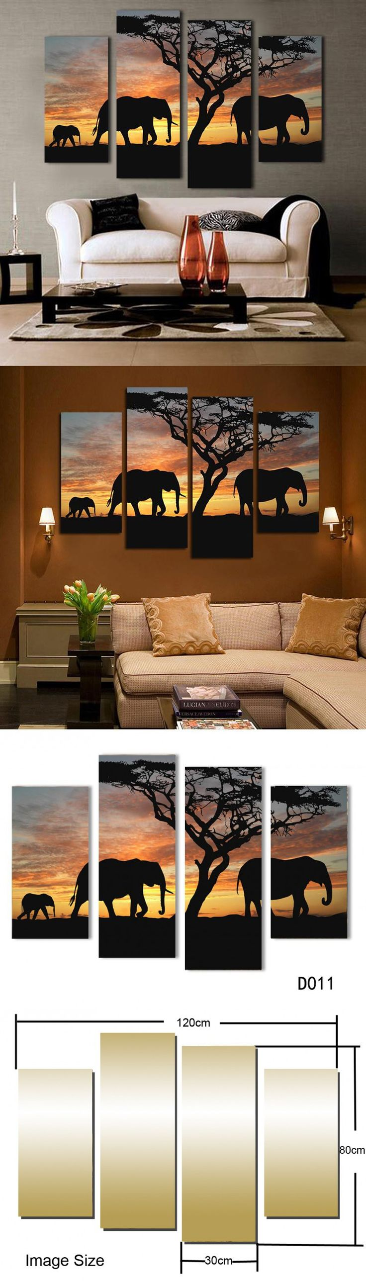 5 Ppcs Sunset Elephant Painting Canvas Wall
