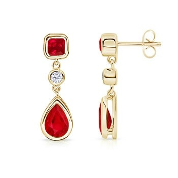 Angara Square Ruby Solitaire Earrings in 14k Yellow Gold QYYY4JSO