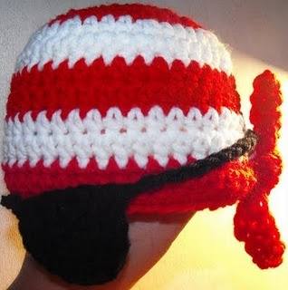 crochet pirate hat baby bandana-I want the eye patch. Maybe add a beard and you have a costume