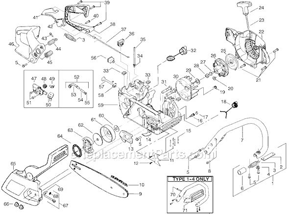 Poulan 2550 Type 5 Gas Chainsaw  schematics Page A