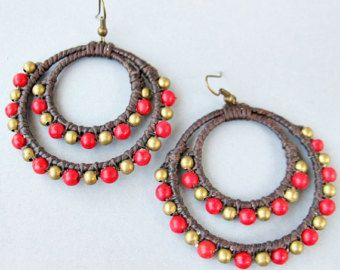 Two Hoops Dangle Earrings with Red Coral Bead and Brass Bead