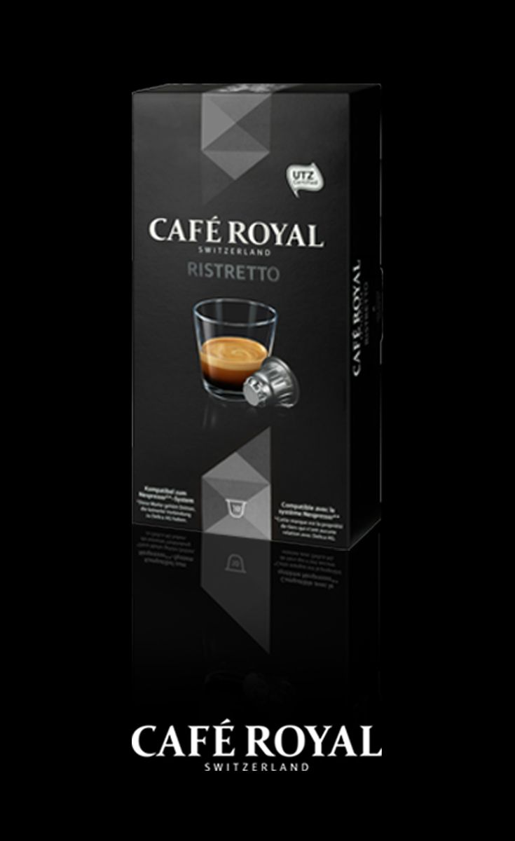 Café Royal - Ristretto - a powerful coffee with an intense aroma of roasted coffee and a hint of dark wild berries. Compatible with all Nespresso systems. #coffee #nespresso