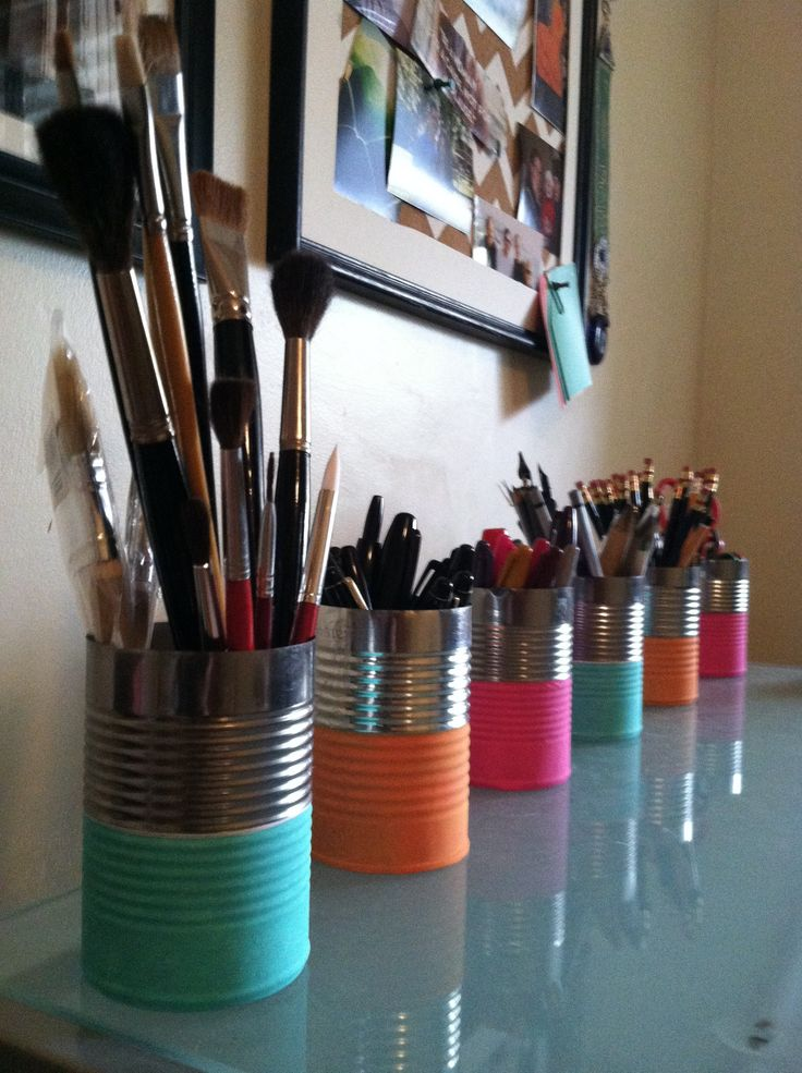 Recycling household items, DIY. Painted cans are great for organizing art supplies or office items. I used acrylic paint to upcylce food cans.