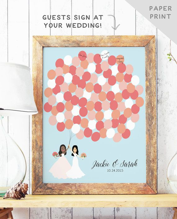Lesbian Wedding Guest Book Alternative - Gay Wedding Guest book - Two Brides Portrait guest book Balloon Bunch - Unique guest book - PAPER