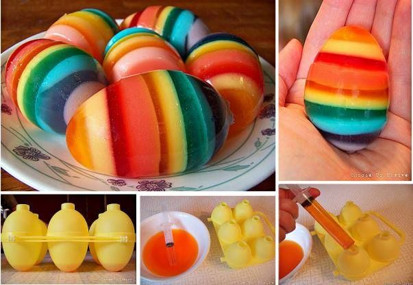 Looking for something different for your Easter ? Make these delicious rainbow jello easter eggs.  #diy #Easter #food
