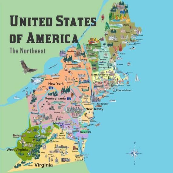 Usa Northeast States Colorful Travel Map Va Wv Md Pa Ny Ms Ct Ri