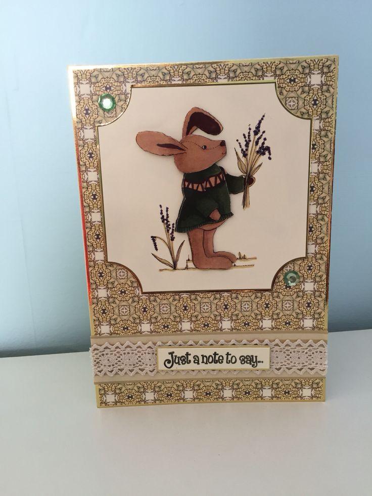 Bunny handmade card using house of Zandra decoupage