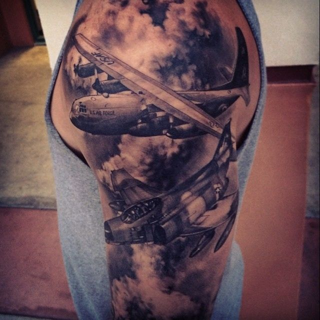 Realistic Military Planes Black and Gray Tattoo , Carl Grace - Bulls Eye Tattoo Shop