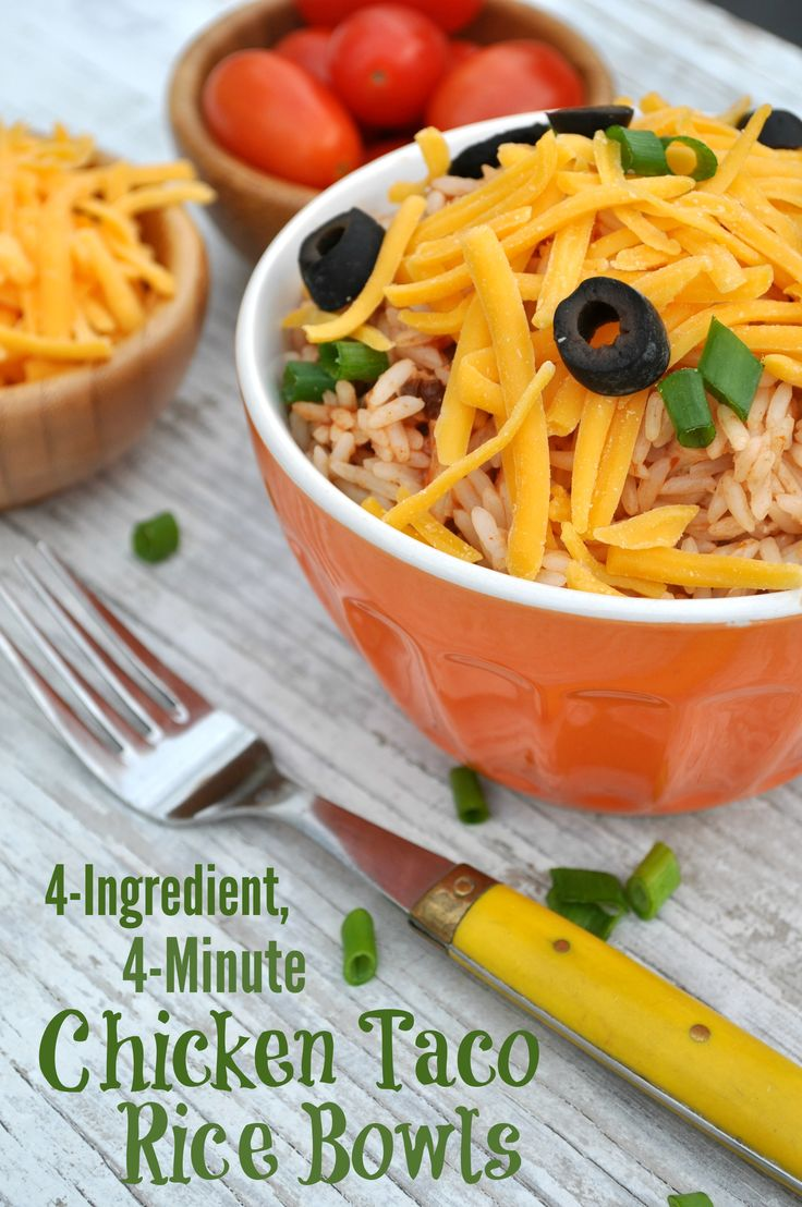 Just 4 Ingredients and 4 Minutes for these healthy Chicken Taco Rice Bowls. This single-serve recipe is a perfect lunch-on-the-go or easy dinner, and everyone can customize with their favorite toppings! #ad