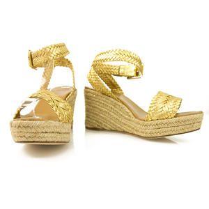 "Authentic Hermes ""Sofia"" Gold Woven Leather & Raffia Wedges SZ 41"
