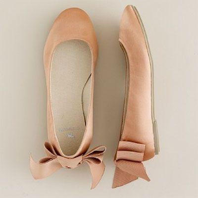 peach J.Crew ballet flats, flower girl