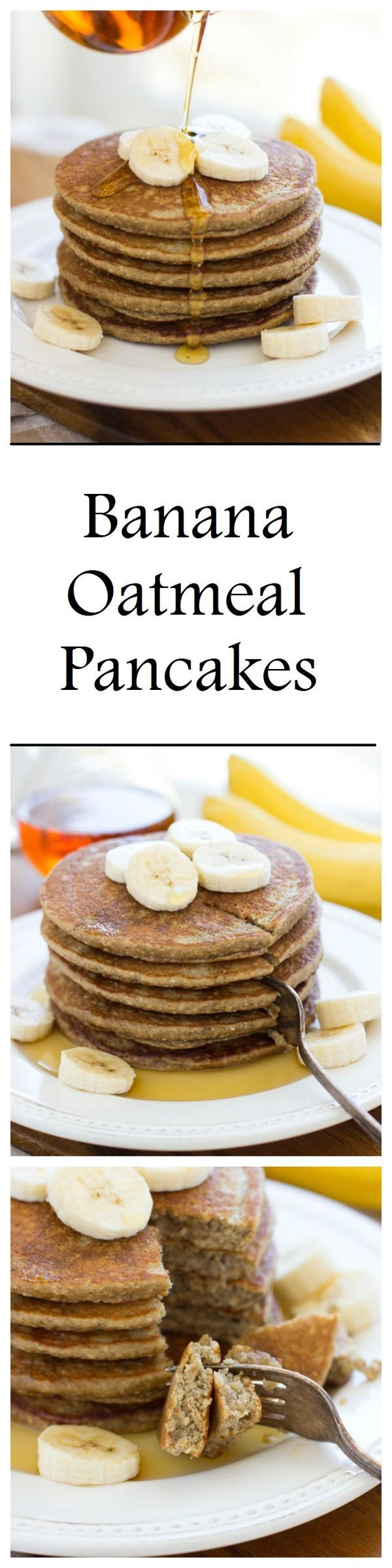 Banana Oatmeal Pancakes that are light, fluffy and refined sugar-free! They're made easy in a blender and are also gluten-free and dairy-free, plus use all clean eating ingredients. Pin this healthy breakfast recipe to try later.