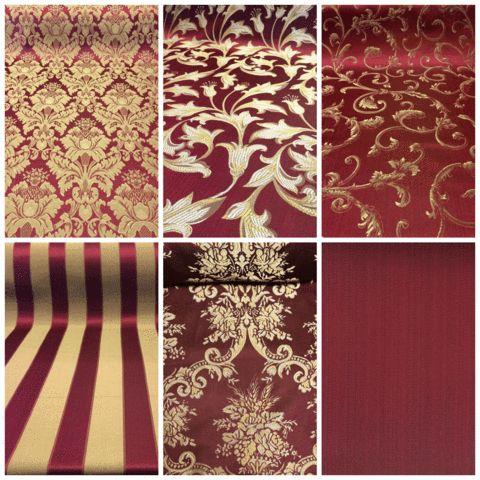 Burgundy & Gold Jacquard Fabric