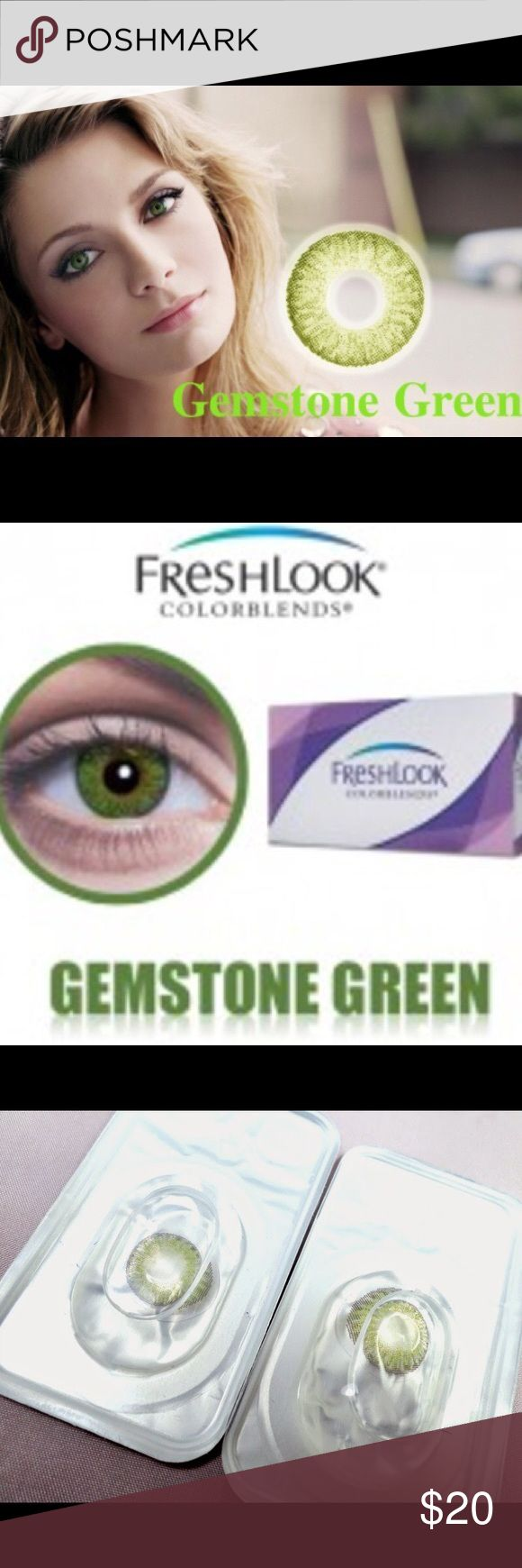 2 Boxes-2 pair Freshlooks Gemstone Green Contacts 2 pair Freshlooks Blended Colored Contacts  You may purchase this listing and choose your 2 colors below if you'd like different colors. All colors are available for purchase Duration: Can be used for a year Package: 4 pcs (2 pair) Non Prescription    These contacts provide a unique 3-in-1 technology, blending three colors into one to create the natural eye color. Colors Available include Blue, Turquoise, True Sapphire, Green, Brown, Honey…