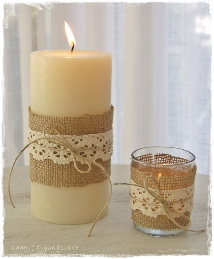 ACE CANDLE VOTIVE BURLAP LACE EMBELLISHMENTS TABLE DECORATIONS RUSTIC  COUNTRY SHABBY CHIC