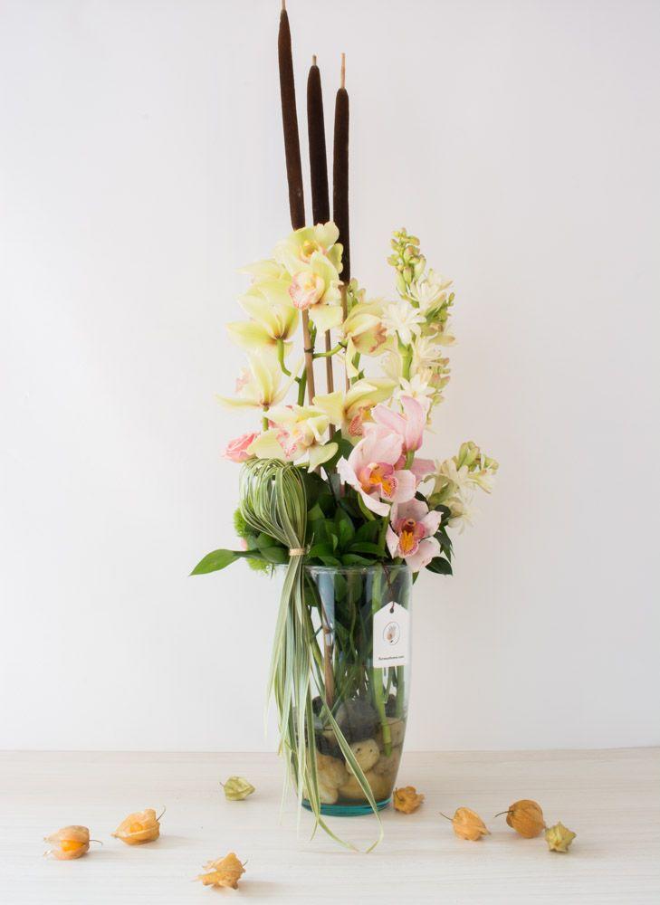 Orquídeas Cymbidium en tonos pastel, eneas, piedras de agua clara, y grafismo en lily grass
