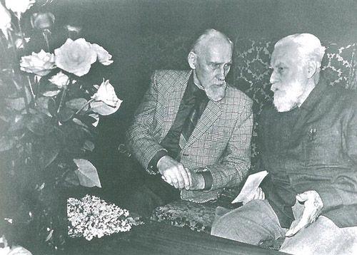 """Б.А.Смирнов-Русецкий и С.Н.Рерих в гостинице """"Советская"""". Москва.1987."""