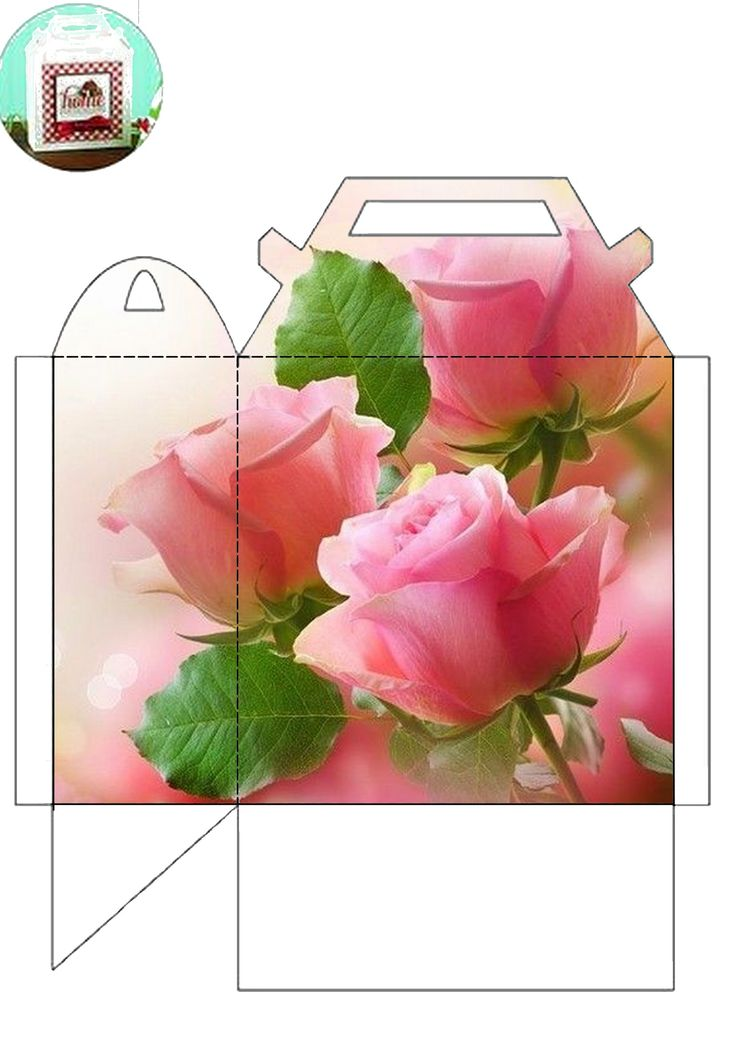 Beautiful pink rose printed on a box template (or fold the flaps inside and use it as a gift bag). Image only. I do realize that I could put a template on top of any image I want, but this is so pretty and easy!