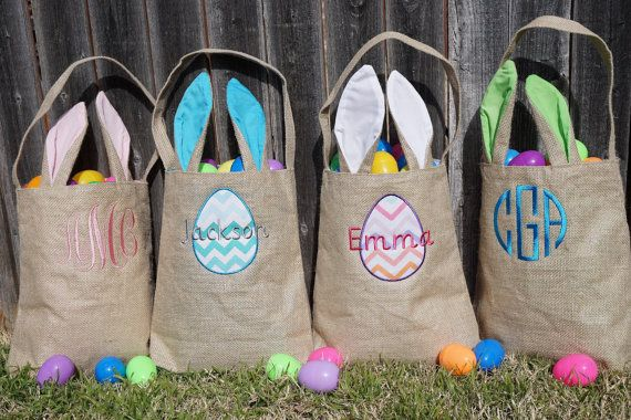 Easter basket Personalized Easter Basket monogram by SewWhatFun