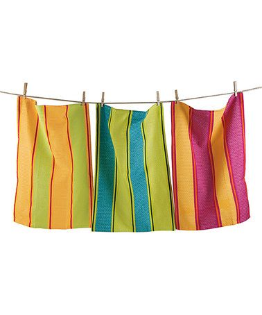 Look what I found on #zulily! Tropical Stripe Dish Towel - Set of Three #zulilyfinds