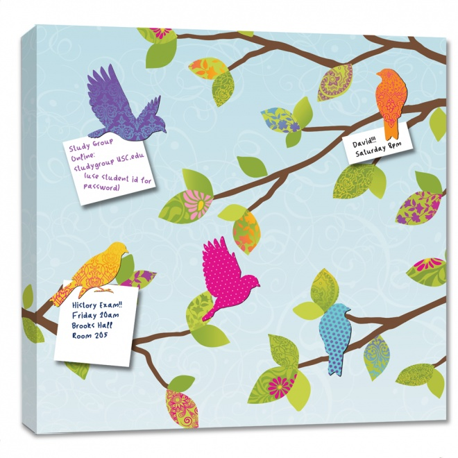 Magnetic canvas board with bird magnets...cute alternative for notes on the fridge