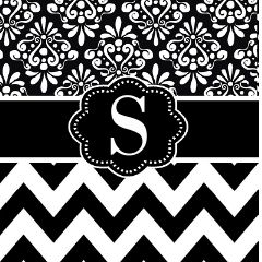 Black White Damask Chevron Monogram Shower Curtain by CupcakesandSprinklesBirthdayTees