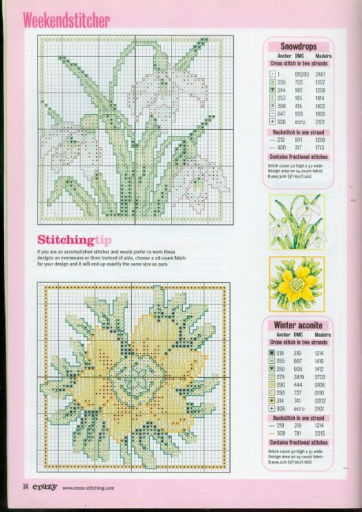 Cross stitch - flowers: Early spring flowers - snowdrop, winter aconite - small motifs (chart)