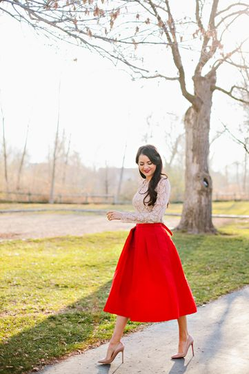 I am obsessed OBSESSED with this beautiful red skirt paired with a nude lace top and nude pumps. The best accessory? Red lipstick.