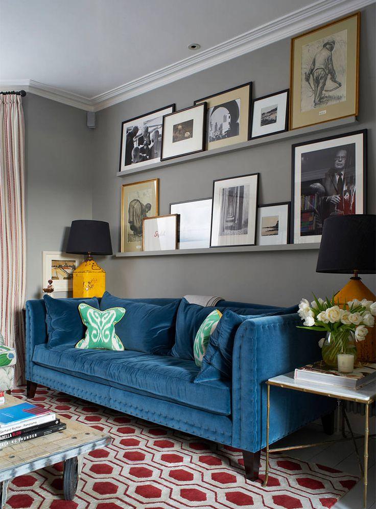 Sala De Estar Cinza E Turquesa ~  de qualquer sala 15 sofá azul em sala cinza sala cinza parede cinza
