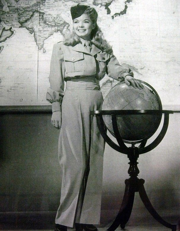 Frances Langford poses here in her USO uniform. She toured with Bob Hope during WWII, the Korean war and Vietnam.