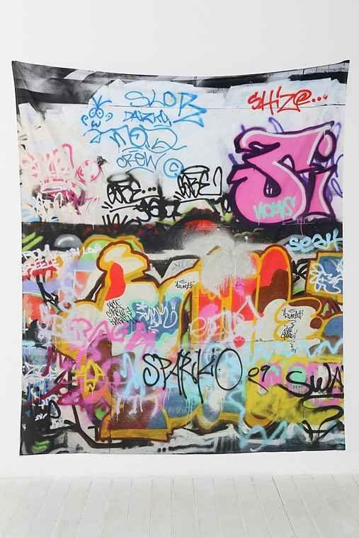 graffiti tapestry graffiti tapestry and graffiti bedroom. Black Bedroom Furniture Sets. Home Design Ideas