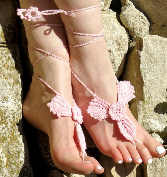 Crochet barefoot sandals pink sandals, foot decoration  leaf sandals,wedding lace sexy yoga anklet beach pool, Bellydance
