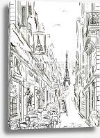 Постер Париж в Ч/Б рисунках #25