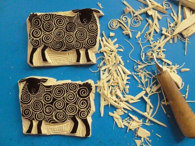 Diy rubber stamp carving love the spirals on sheep