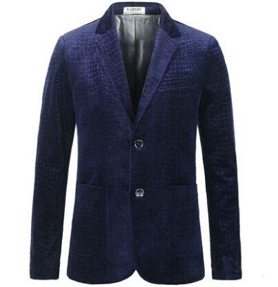 Синий бархат пиджак печать Большой размер S-3XL мужчин пиджак разрабатывает королевский синий кофе бренд класса люкс пиджак пиджак MasculinoBlue бархат