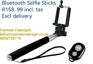 Bluetooth Selfie Sticks R158.99 incl tax.  *Whether it's for your profile shot to agency  or getting the perfect photo of that unreachable item or bird/hyena- This is a must have!!!!*  ORDERS GO THROUGH THIS MORNING! 5% Discount on units price for bulk orders (over 500 units)_not valid for delivery fee. Collection is optional based in Pretoria East.   Excluding delivery fees. (R40.90 excl vat with sa post office for 1 kg package each additional kg R5.50ex vat) (Subject to chg)…