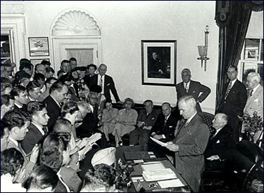 President Truman announces the end of the Second World War, 1945.  Harry S. Truman Library