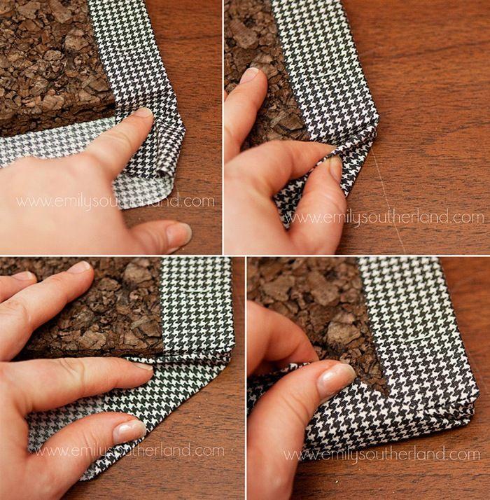 DIY fabric tack board, cute!