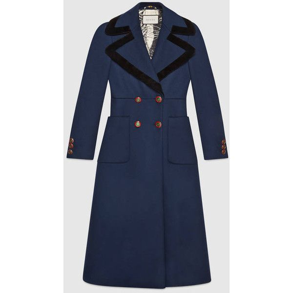 Gucci Double-Breasted Wool Overcoat ($3,980) via Polyvore featuring outerwear, coats, wool overcoat, blue wool coat, wool coats, double breasted overcoat and gucci coat