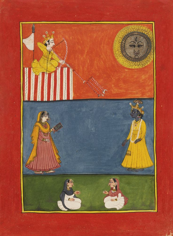 Under a fiery sun, Lord Kama aims 5 arrows of desire at Lord Krsna who faces Radha. The Rasikapriya of Keshav Das. Mandi, India ca. 1790-1800.