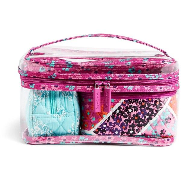 Vera Bradley Travel Cosmetic Set ($58) ❤ liked on Polyvore featuring beauty products, beauty accessories, bags & cases, modern medley, vera bradley makeup bag, dop kit, wash bag, travel toiletry case and toiletry kits
