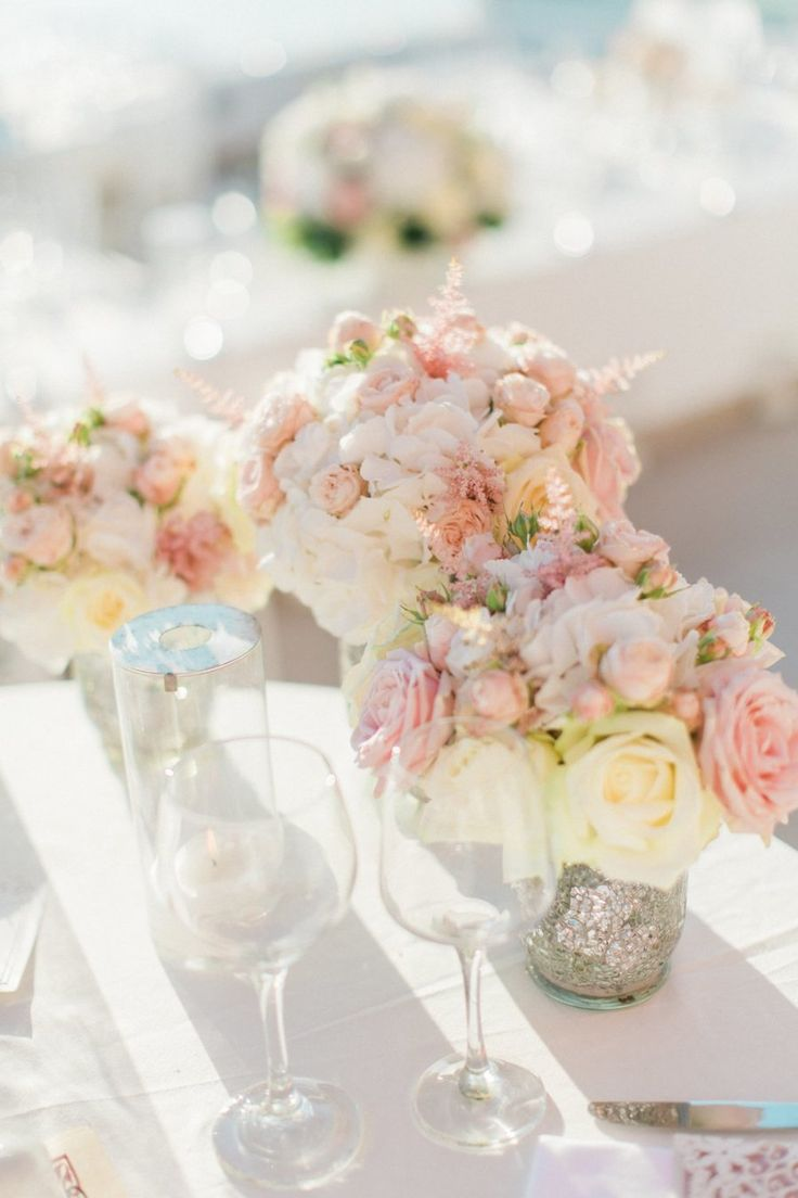 Pink and white with mercury glass. Wedding Wish. Photography: Anna Roussos  - annaroussos.com