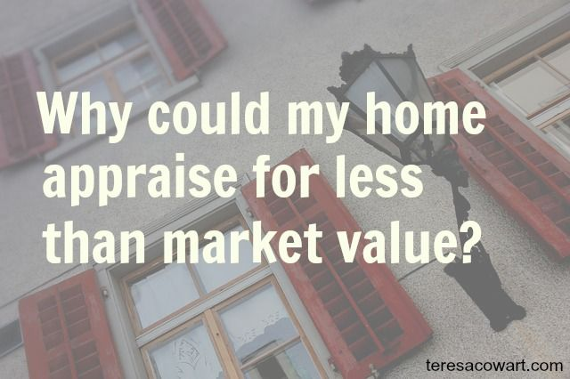 Why Could My Home Appraise For Less Than Market Value #homeappraisal #realestateadvice http://www.teresacowart.com/Blog/?p=4278