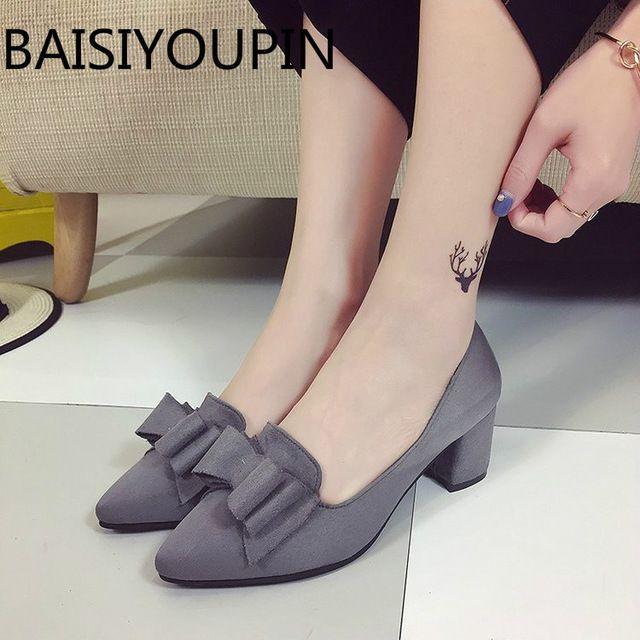 a58253c32f 2018 primavera versión coreana dulce superficial señaló arco calzado para  mujer negro franela gruesa Tacones mujeres mediados Tacones ante Zapatos