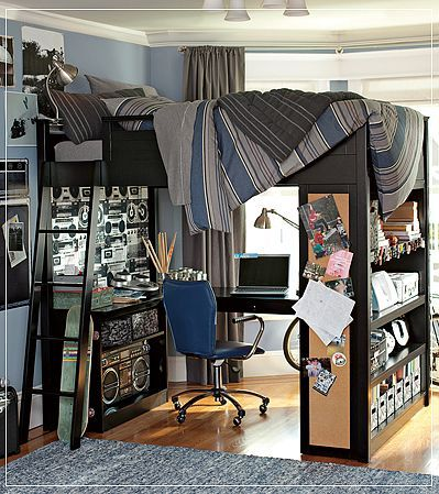 Cute And Colorful Little Boy Bedroom Ideas: Bunk Bed With Workspace Boys  Room ~ Kids Bedroom Inspiration