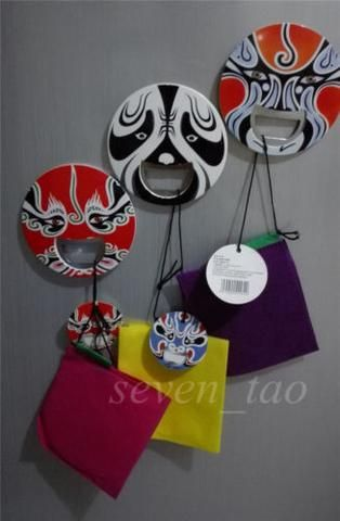 1pcs Opener Cap Lifter Bottle Fridge Magnet Soda Peking Opera/ Facial Masks