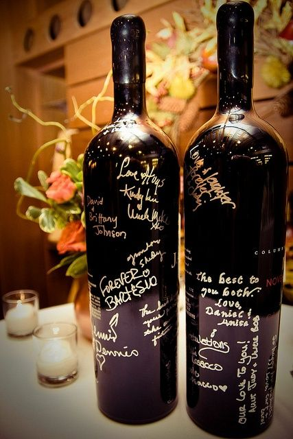 We could tear off the labels on the wine bottles, and label them for different years of marriage, have people write things on them, and then you could open them on that year, like after one year of marriage, five years, 10 years, 20, 50...